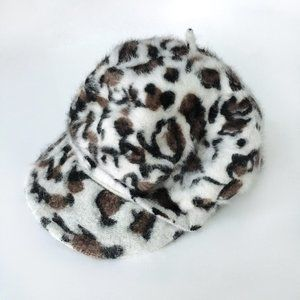 Vintage Leopard Angora Peaked Beret - O/S